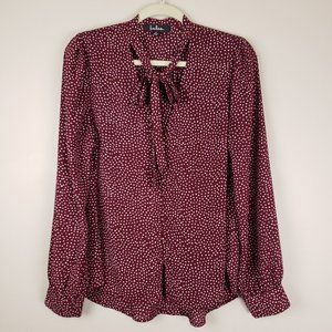 Lulu's Polka Dot Button Up Pussy Bow Peasant Top